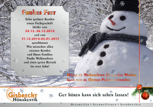 Gisbrecht Hörakustik - Schließtage 2014