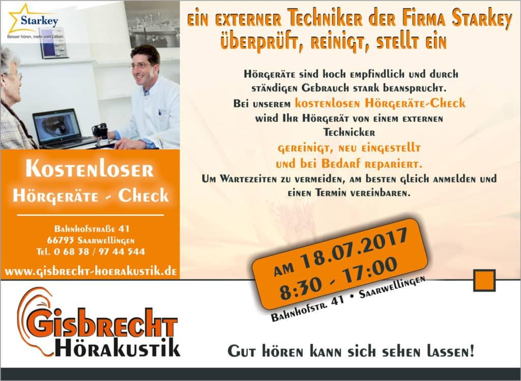 Gisbrecht Hörakustik - Aktionstag in Saarwellingen 18. Juli 2017