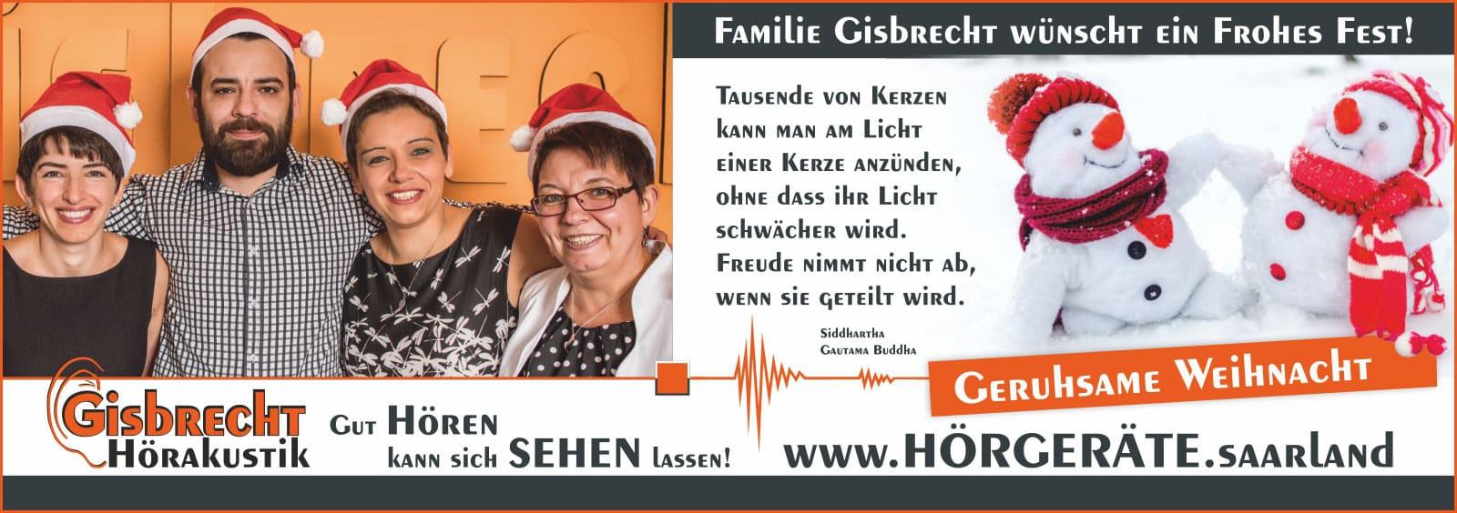 Gisbrecht Hörakustik wünscht Frohe Weihnachten