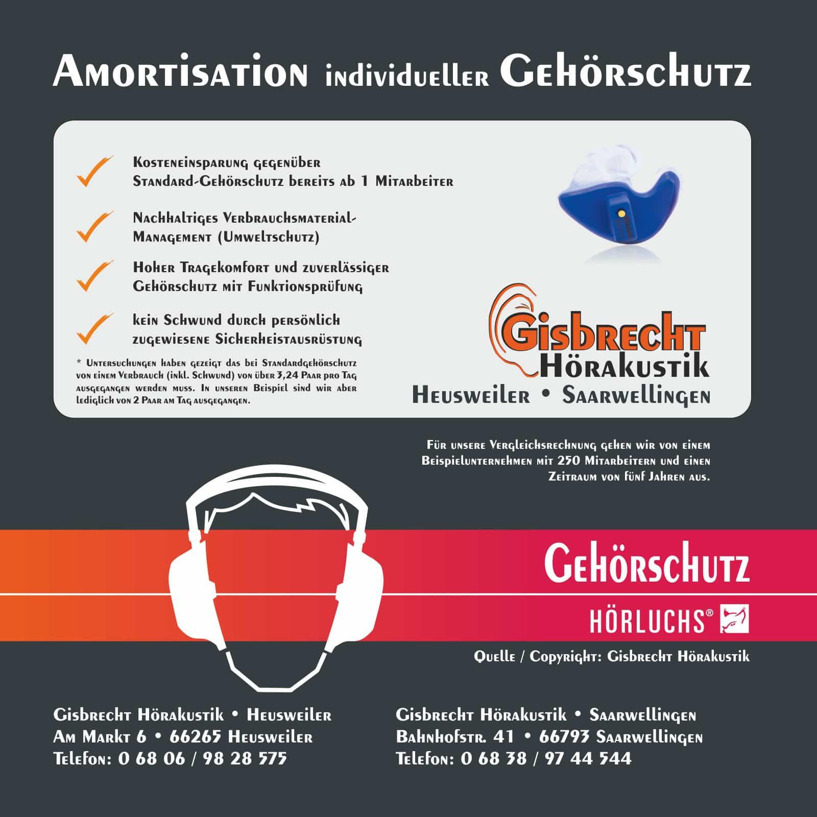 Gisbrecht Hörakustik - Amortisation von individuellem Gehörschutz Blatt 01