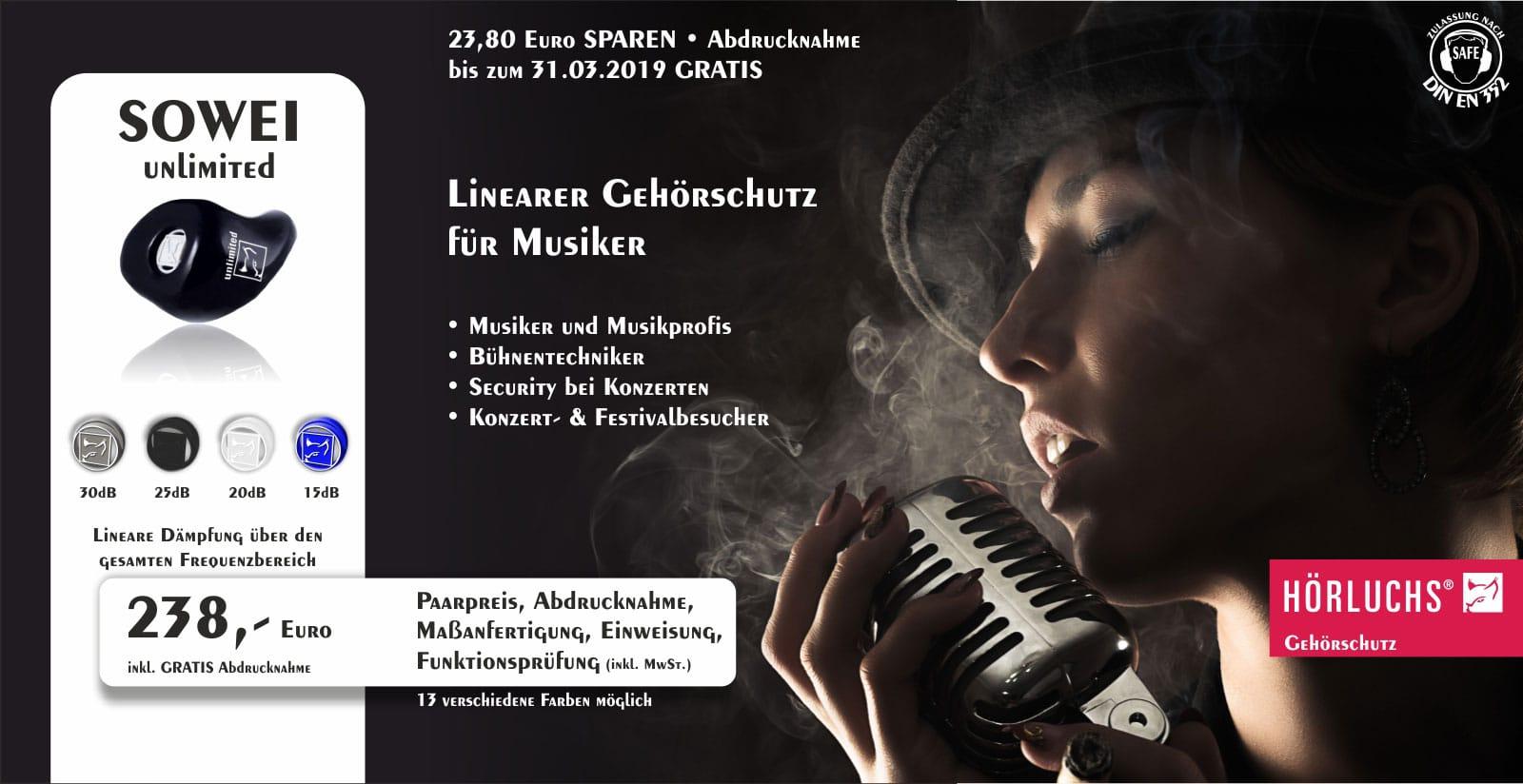 Gisbrecht Hörakustik - Gehörschutz Partner Hörluchs - SOWEI Unlimited Aktion