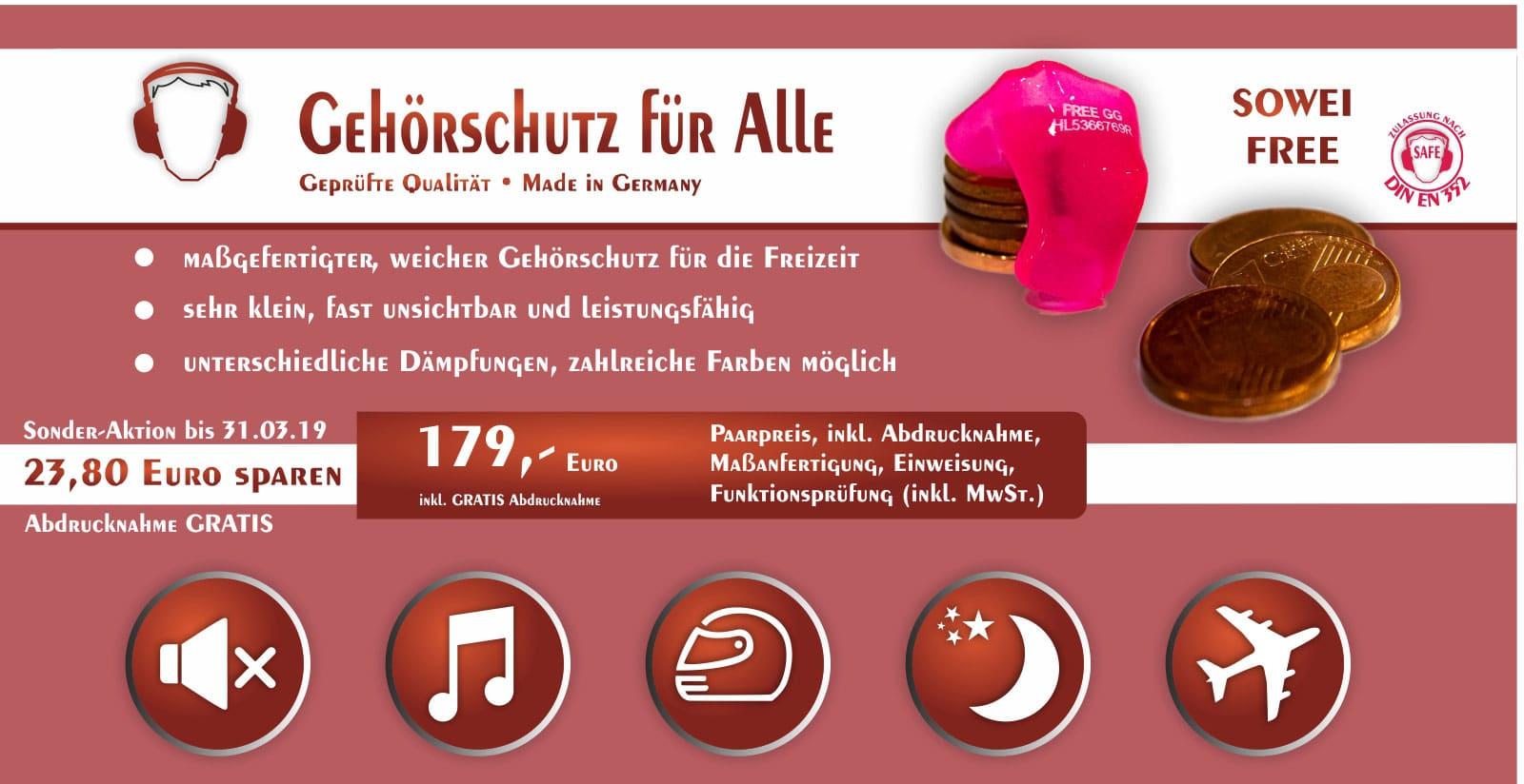 SOWEI free Gehörschutz Hörluchs - Gisbrecht Hörakustik Saarland - Aktionsangebot 2019