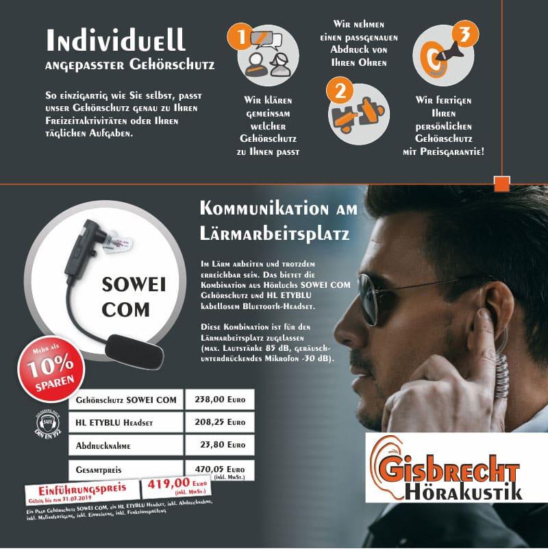 Imagebild KOMMUNIKATION Gehörschutz SOWEI COM Hörluchs - Gisbrecht Hörakustik Saarland - Aktion SOWEI COM und ETYL Blue